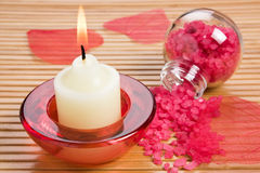 Aroma candle and bath salt Stock Image