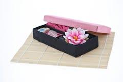 Aroma candle box set. Aroma candle and joss stick box set Stock Photo