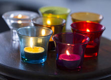 Aroma Candle in Colorful Glass Royalty Free Stock Photos