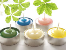 Aroma candles. Beautiful aroma candles on white back Stock Image