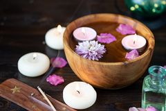 Items for aromatherapy, massage. Relax and spa theme stock photography