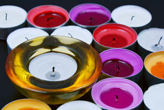 The aroma of candles. Close up from candles with black background stock photos