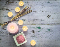 Aroma candles, lavender smoking sticks, topview, copyspace Royalty Free Stock Images