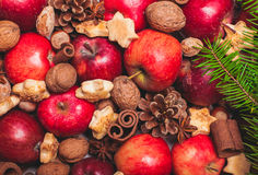 Aroma Christmas. Apples, cones, nuts and cookies with spices. Aroma Christmas Stock Photos