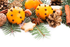 Aroma of Christmas. Border for Christmas - fir, tangerins and spices Stock Images