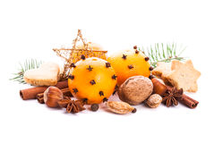 Aroma of Christmas. Fir, tangerins and spices Stock Photo