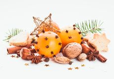 Aroma of Christmas. Fir, tangerins and spices Stock Photos