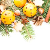 Aroma of Christmas. Fir, tangerins and spices Royalty Free Stock Photos