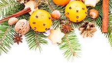Aroma of Christmas. Fir, tangerins and spices Stock Photography