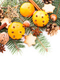 Aroma of Christmas. Fir, tangerins and spices. Border design Royalty Free Stock Photos