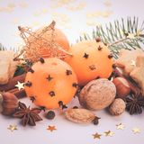 Aroma of Christmas. Fir, tangerins and spices. Christmas cookies vintage styled Royalty Free Stock Photo