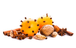 Aroma of Christmas. Tangerins, nuts and spices Stock Photos
