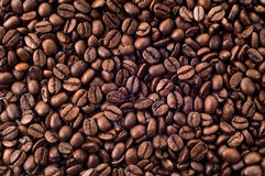 The aroma of coffee. Background of coffee beans, coffee flavor Royalty Free Stock Images