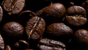 Aroma of coffee beans. Rotating. Close up. stock video footage