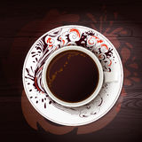 Aroma coffee cup at wood table Stock Image