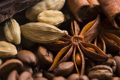 Aroma coffee ingredients Royalty Free Stock Images