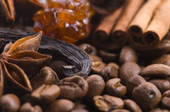Aroma coffee ingredients Royalty Free Stock Photography