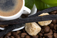 Aroma coffee with vanilla and coffee branch Stock Photos