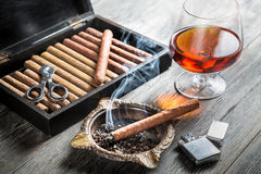 Aroma of cognac and cigar fuming Royalty Free Stock Images