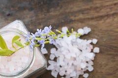 Aroma de la sal del balneario de toda la comida de piel de las flores con las flores púrpuras Imagenes de archivo