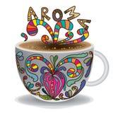 Aroma del disegno della tazza di tè Immagini Stock Libere da Diritti
