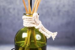 Aroma diffuser with bamboo sticks. A Bottle of Citronella Fragrant Oil Diffuser with Reed Sticks Stock Image