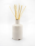 Aroma dried branch in beige vase on white background Royalty Free Stock Photos