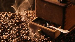 Aroma of freshly roasted coffee beans stock video