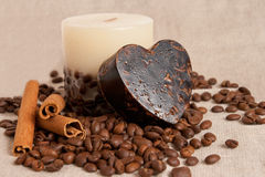 Aroma handmade soap and candle and coffee beans Stock Photos