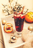 Aroma hot punch glass with christmass decoration Stock Image