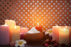 Aroma lamp and candles. On table royalty free stock photography