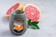 Aroma lamp with grapefruit essential oil, copy space, horizontal Royalty Free Stock Photos