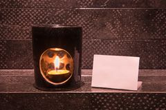Aroma lamp and notepaper Royalty Free Stock Image