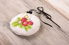 Aroma levander bag - Christmas tree decoration. Christmas ornaments cross-stitched bag filled with levander blooms Stock Image