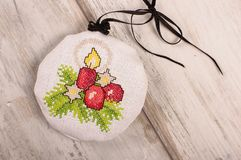 Aroma levander bag - Christmas tree decoration. Christmas ornaments cross-stitched bag filled with levander blooms Stock Photography