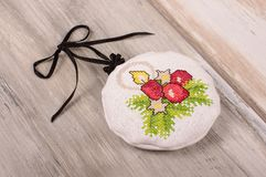 Aroma levander bag - Christmas tree decoration. Christmas ornaments cross-stitched bag filled with levander blooms Royalty Free Stock Photo