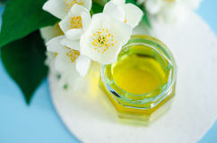 Aroma massage oil perfume with jasmine essence. Stock Image