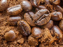 Aroma natural ground coffee and coffee beans Royalty Free Stock Image