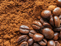 Aroma natural ground coffee and coffee beans Stock Photo
