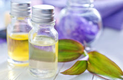 Aroma oil. In glass bottles Royalty Free Stock Photos