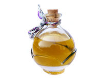 Aroma Oil. Bottle of aroma oil isolated on white background. Oil is made from hypericum Stock Photo