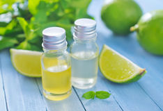 Aroma oil. In bottle on a table royalty free stock images