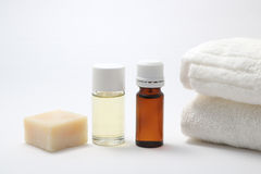 Aroma oil bottles and soap Royalty Free Stock Image
