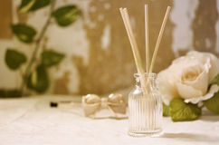 Aroma oil and candle light Royalty Free Stock Images