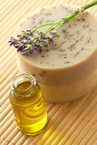Aroma oil and handmade soap Stock Photography