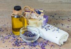 Aroma oil, lavender flowers, handmade soap Royalty Free Stock Image