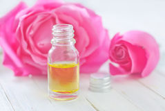 Aroma oil. Aroma rose oil in bottle Stock Photography