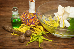 Aroma oil with spa accessories ,Thai spa concept Stock Image