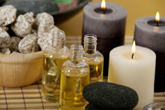Aroma oils and candles Stock Images