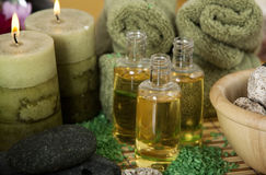 Aroma oils and candles Stock Image